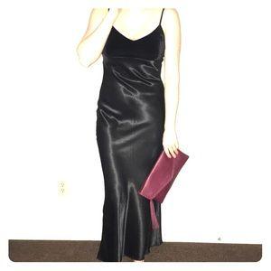 Vintage Velvet & Satin Slip Dress 90s Formal Gown